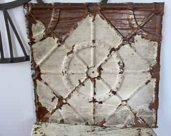 large vintage tin ceiling tile 24 inch rusty chippy antique ceiling tile embossed pattern architectural salvage shabby chic ceiling tile - Antique Tin Ceiling Tiles