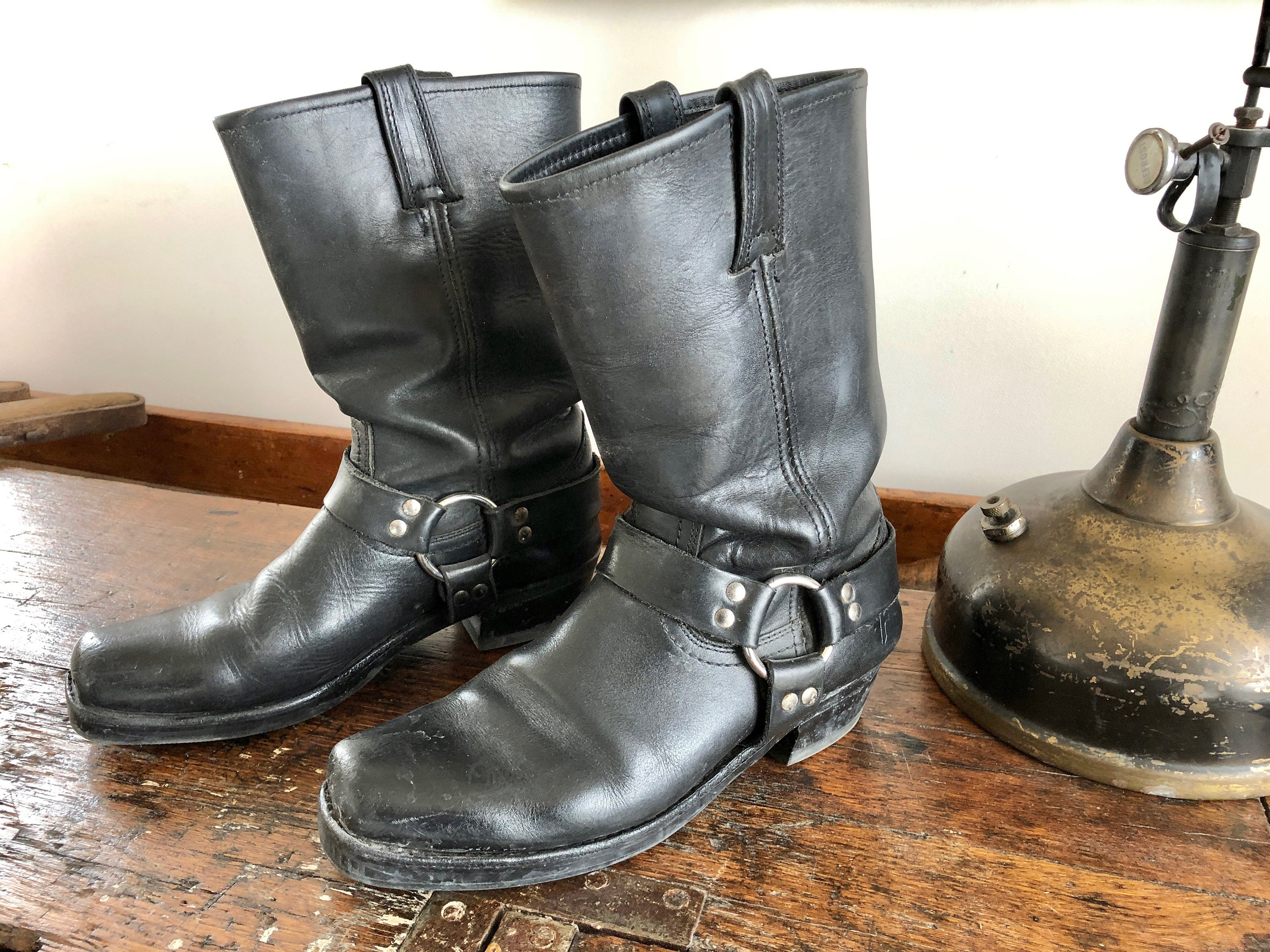 Frye Motorcycle Boots Black Leather Harness Square Toe Etsy