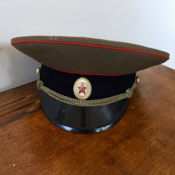 Vintage RUSSIAN MILITARY Hat w/ Hammer and Sickle
