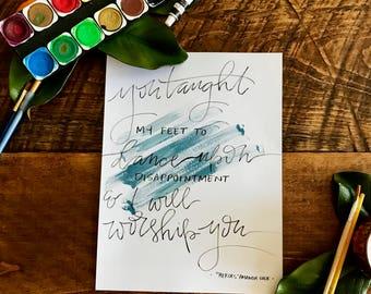 Worship song lyrics etsy custom song lyric print custom print calligraphy print stopboris Choice Image