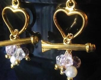 Cupids heart dangling earrings