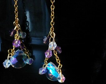 Clear Swarovski Crystal and Amethyst dangle earrings