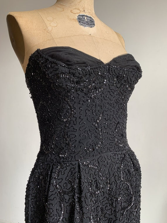 1950s Ceil Chapman Black Beaded Sequined Straples… - image 10