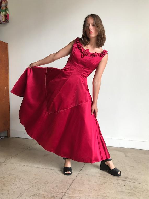 Pink Floral Rhinestone Wiggle Dress Vintage 50/'s Raspberry Red