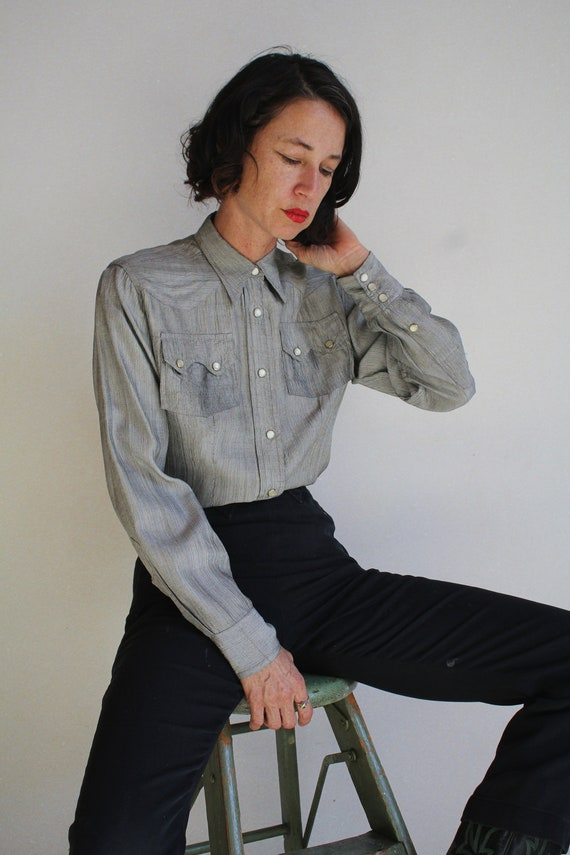 1950s Silver Western Pearl Snap Button Up - Vinta… - image 8