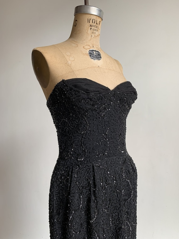 1950s Ceil Chapman Black Beaded Sequined Straples… - image 1