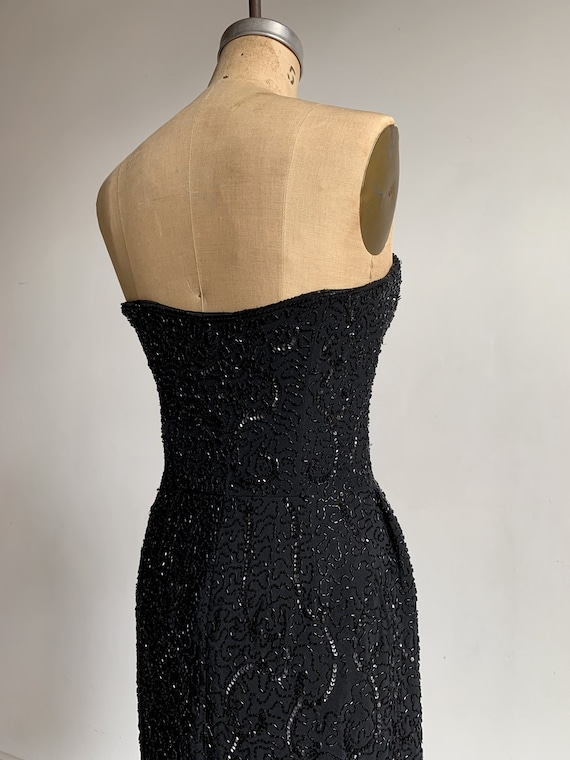 1950s Ceil Chapman Black Beaded Sequined Straples… - image 4