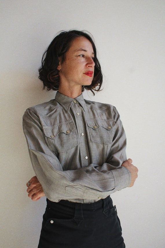1950s Silver Western Pearl Snap Button Up - Vinta… - image 2
