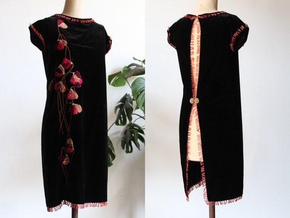 1920s Silk Velvet Open Back Dress