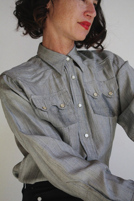 1950s Silver Western Pearl Snap Button Up - Vinta… - image 3