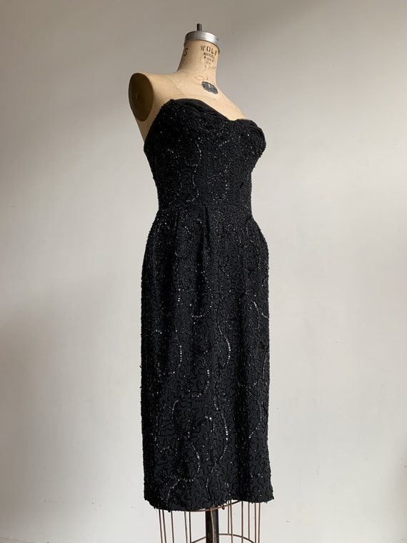 1950s Ceil Chapman Black Beaded Sequined Straples… - image 2