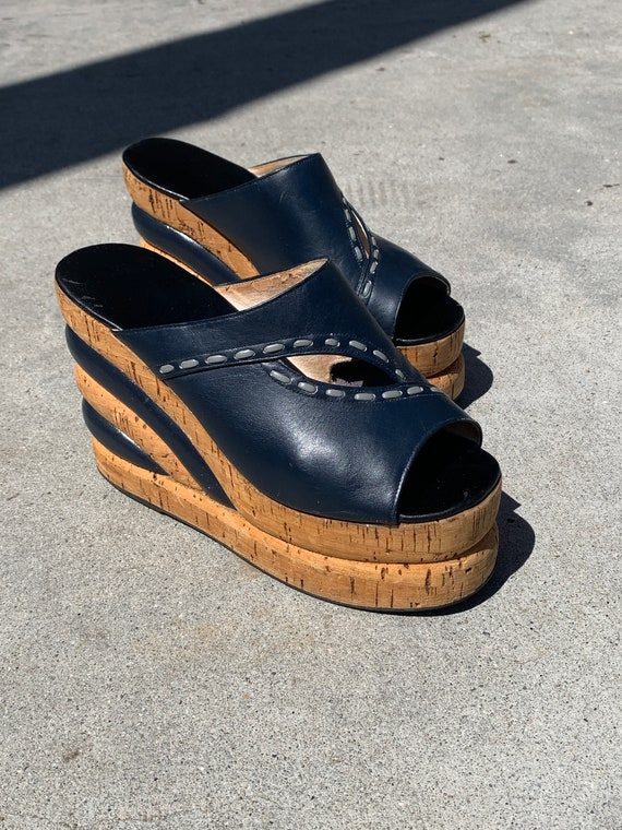 1970s Platform Shoes - Leather Stacked Cork Wedges