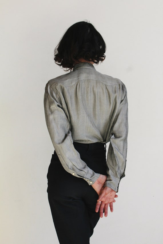 1950s Silver Western Pearl Snap Button Up - Vinta… - image 5