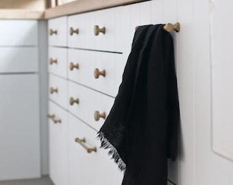 BLACK AS NIGHT Pure Linen Tea Towel - 100% linen kitchen towel, flax linen, black tea towel, frayed linen dish towel, handmade tea towel