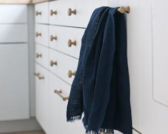 MOONSTONE Pure Linen Tea Towel - 100% linen kitchen towel, flax linen, navy blue tea towel, frayed linen dish towel, handmade tea towel