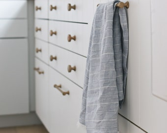 COTTAGE HOME - Pure Linen Tea Towel - 100% linen kitchen towel, flax linen, striped tea towel, frayed linen dish towel, handmade tea towel