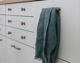 HAZY TEAL Pure Linen Tea Towel - 100% linen kitchen towel, flax linen, teal tea towel, frayed linen dish towel, handmade tea towel