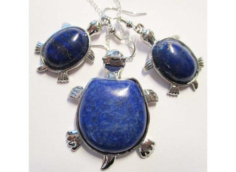 Turtle Set Lapis Semi Precious Stone with Matching Earrings