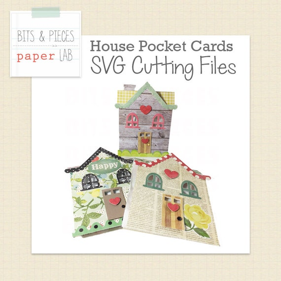 House Shaped Pocket Card Svg Cutting Files