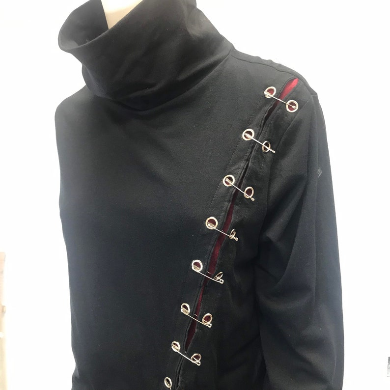 Gothic Turtleneck Women\u2019s Mini Tee Dress Cyberpunk Techwear Long Sleeves T-Shirt Body Conscious Top Steampunk Hand Made in USA by Studio XTC