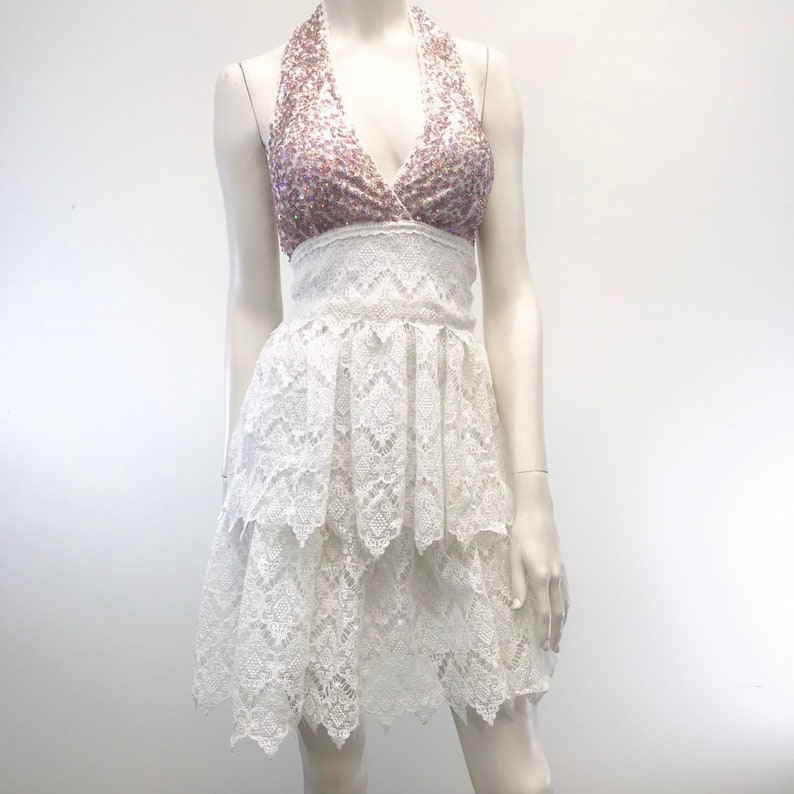 Cute White Layered Lace with Sequins Mini Dress Sweatheart Lamar Evening Party Hand Made in USA by Studio XTC