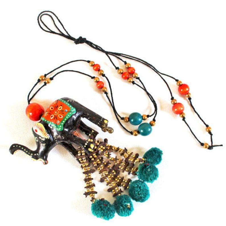 Vintage Bohemian Elephant Pendant Necklace with Tassels