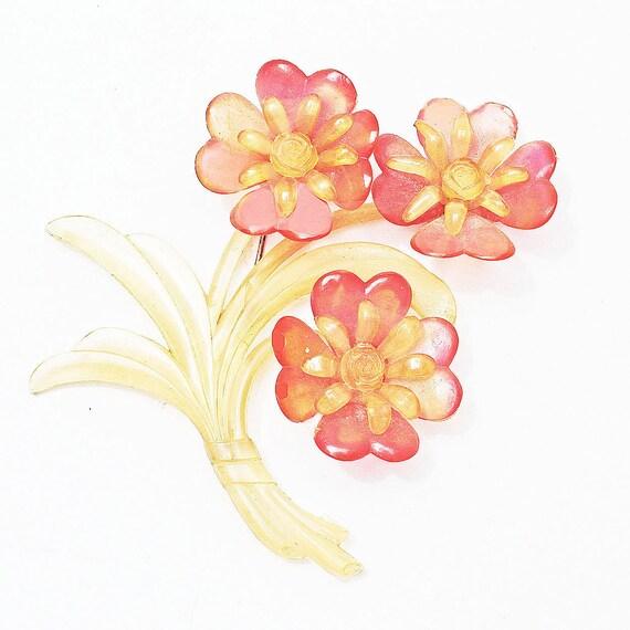 Vintage Celluloid Large Flower Brooch