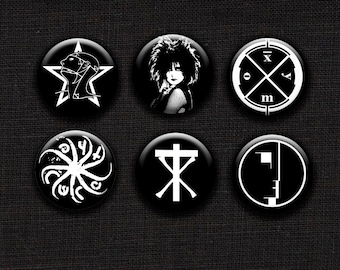 Retro Goth Band Logo Pinback Button Set