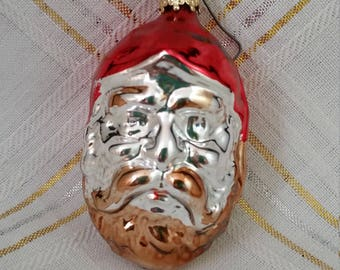 Santa Head Mercury Glass Ornament