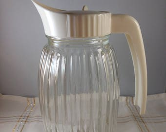 Ribbed Clear Glass Pitcher
