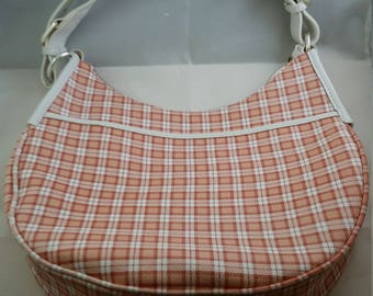 Coral and White Checkered Leather Purse by Lauren