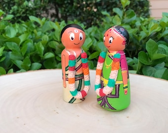Customized Cake Topper made with wood and Polymer Clay for a Gujarati Indian Wedding