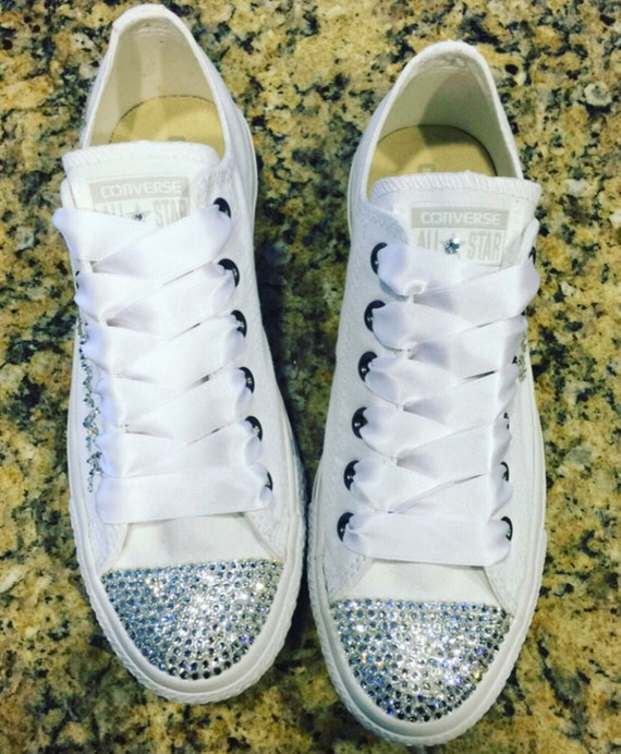 54a629727dde SWAROVSKI Bling CONVERSE-Wedding Shoes-All White Low Tops for