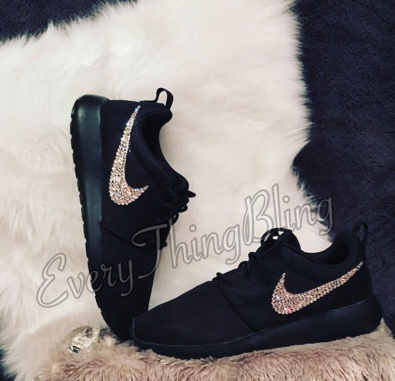 5f80d4d44f2b1a Custom Nikes SWAROVSKI Clear ELEMENTS bedazzled on Nike Roshe