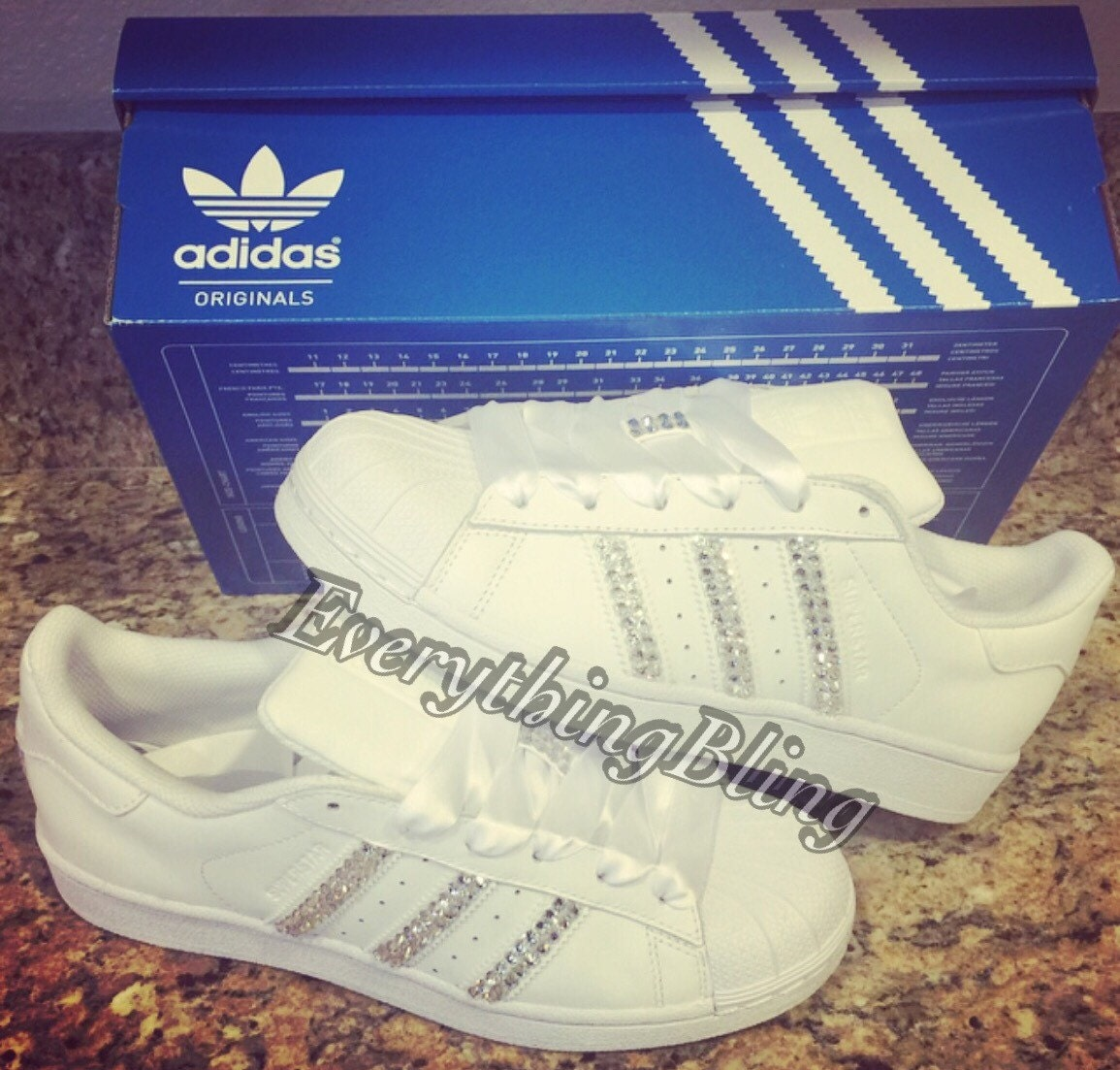 ADIDAS Superstar WOMENS All White Shoes Blinged With  3061fc554b3d