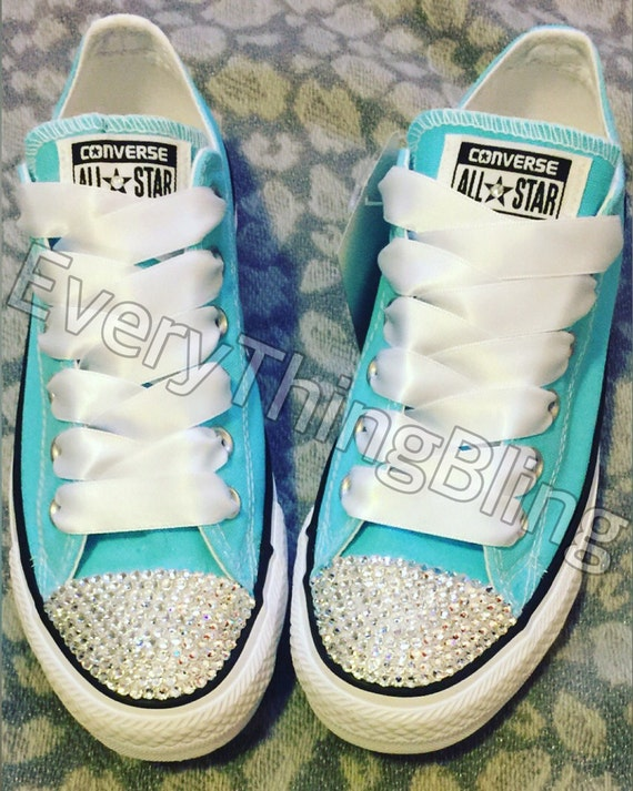 8cfd0029a789 SWAROVSKI ELEMENTS Bling Custom CONVERSE-Womens Sizes-Tiffany