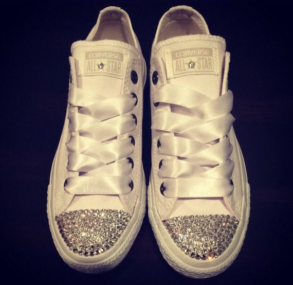 SWAROVSKI CONVERSE White Low Tops for Women Chuck Taylors  2584487ce3ad
