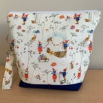 Winter Elves, Knitting Project Bag with removable clip fob.