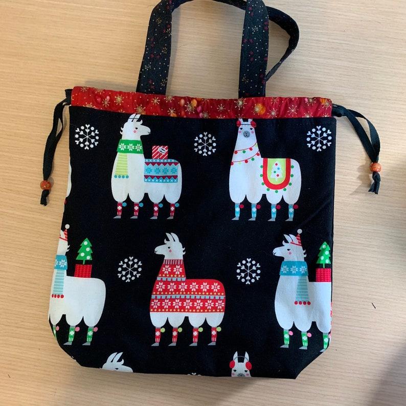 Kiko Drawstring Knitting Project Bag with handles Festive image 0