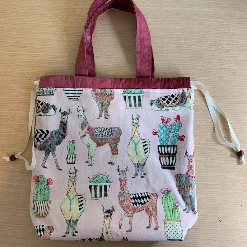 Kiko Drawstring Knitting Project Bag with handles Llamas on image 0