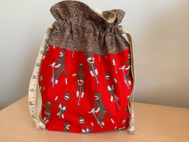 Sock Monkey Drawstring Project Bag with Antique Tape Measure image 0