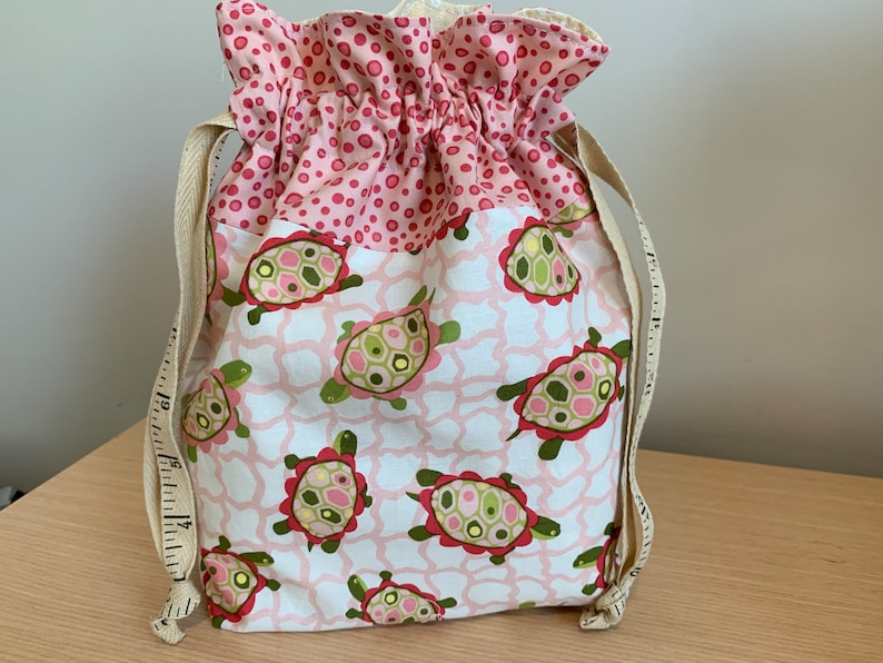 Turtles Pink Bubbles Drawstring Project Bag with Antique Tape image 0