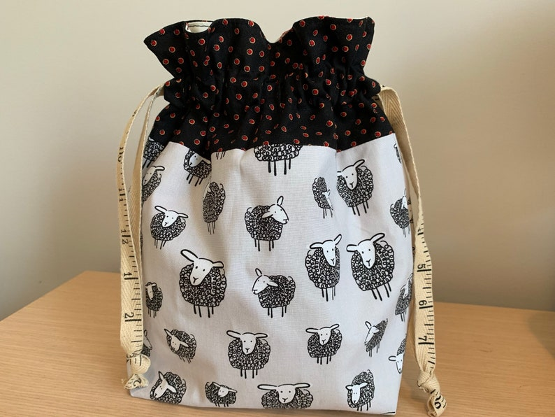 Sheep Drawstring Project Bag with Antique Tape Measure Twill image 0