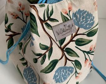 Japanese Rice bag,  Komebukuro, drawstring Knitting Project Bag, Rifle paper Canvas Peonies fabric