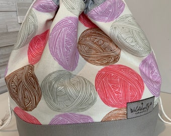 Drawstring Knitting Project Bucket  Bag, for larger multi-skein project, Canvas, Yarn Balls on natural