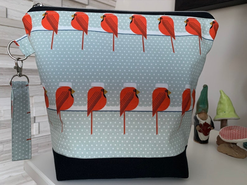 Cute snowy Cardinals sitting on a line Knitting Project Bag image 0