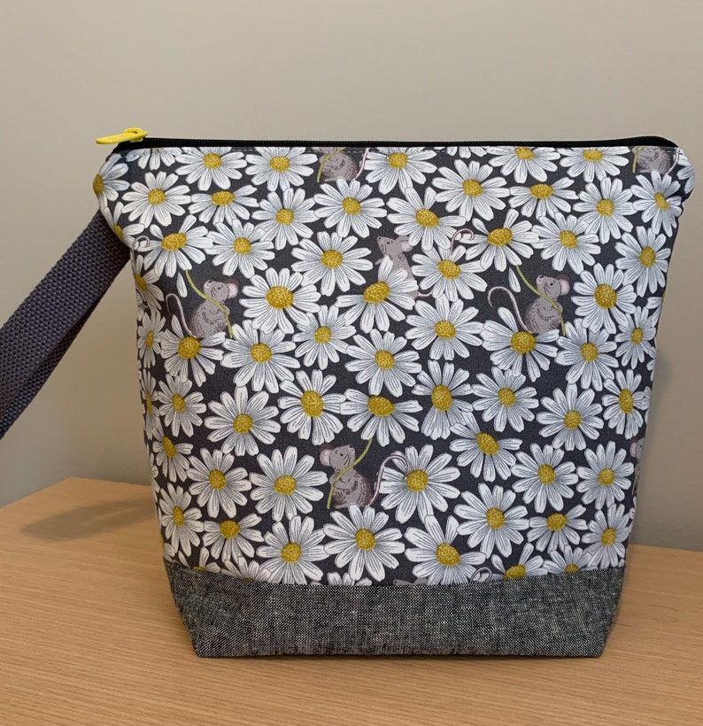 Mice and Daisies  Zippered Knitting Project Bag with woven image 0