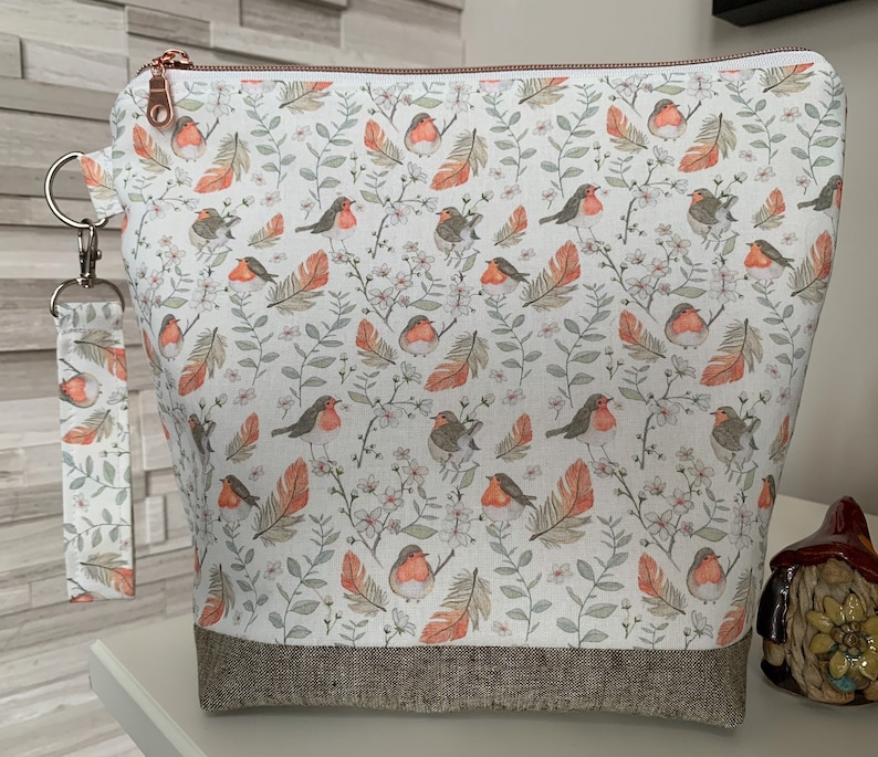 Cute red breast robin  fabric designed by Viktoria Egert image 0