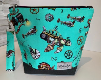 Aquatic Steampunk Zippered Knitting Project Bag with detachable wrist fob, turquoise