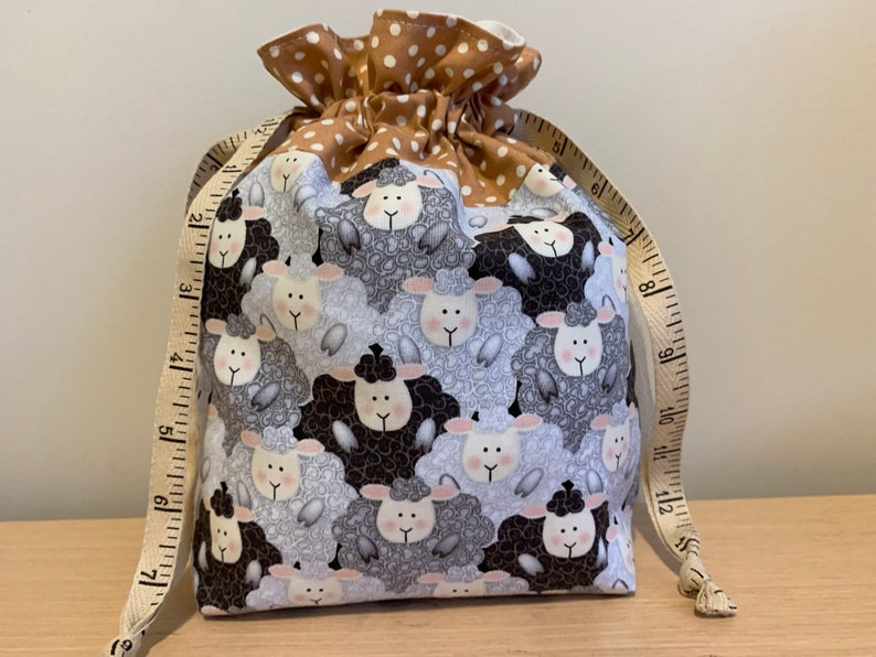 Sheep Crowd Drawstring Project Bag with Antique Tape Measure image 0